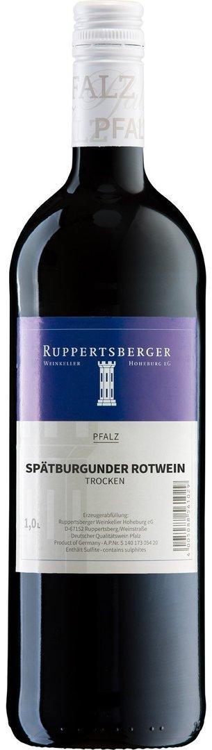 Spätburgunder Rotwein QW trocken Pfalz 2019, 1 Liter